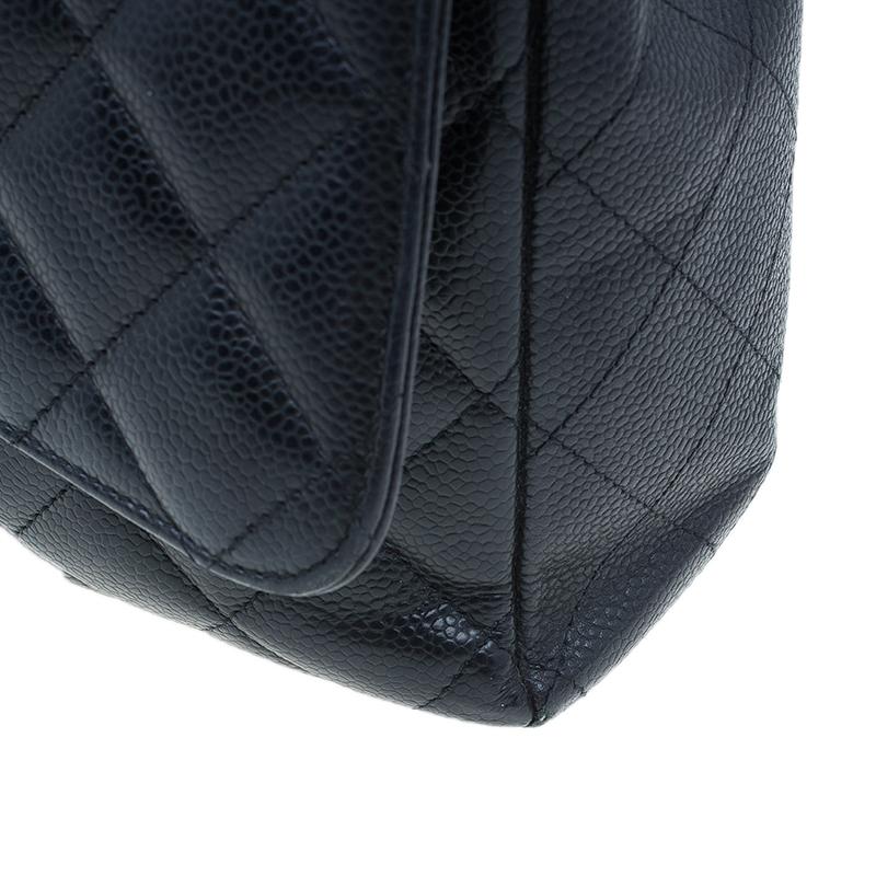 Chanel Black Caviar Leather Classic Maxi Double Flap Bag