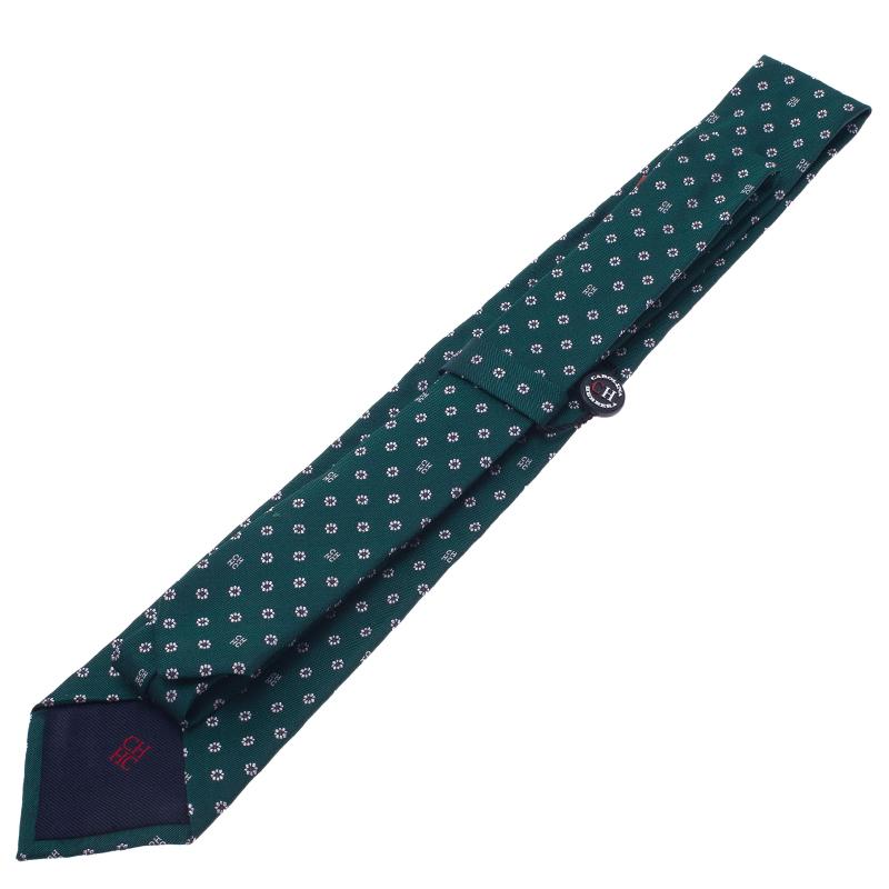 CH Carolina Herrera Green Floral Printed Silk Tie