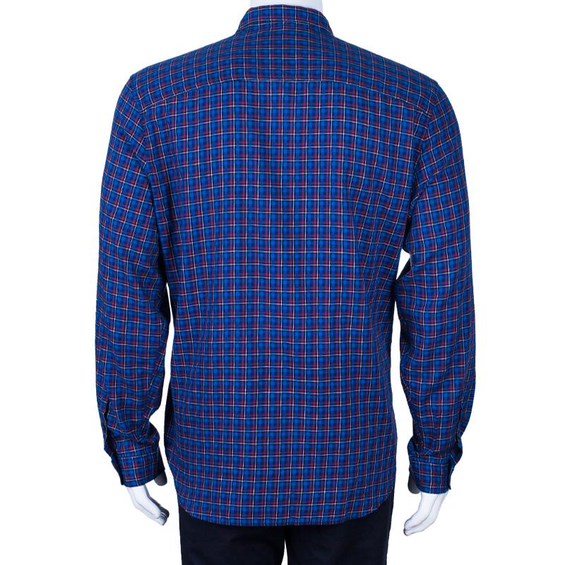 Burberry Men's Blue Check Button Down Shirt XXL