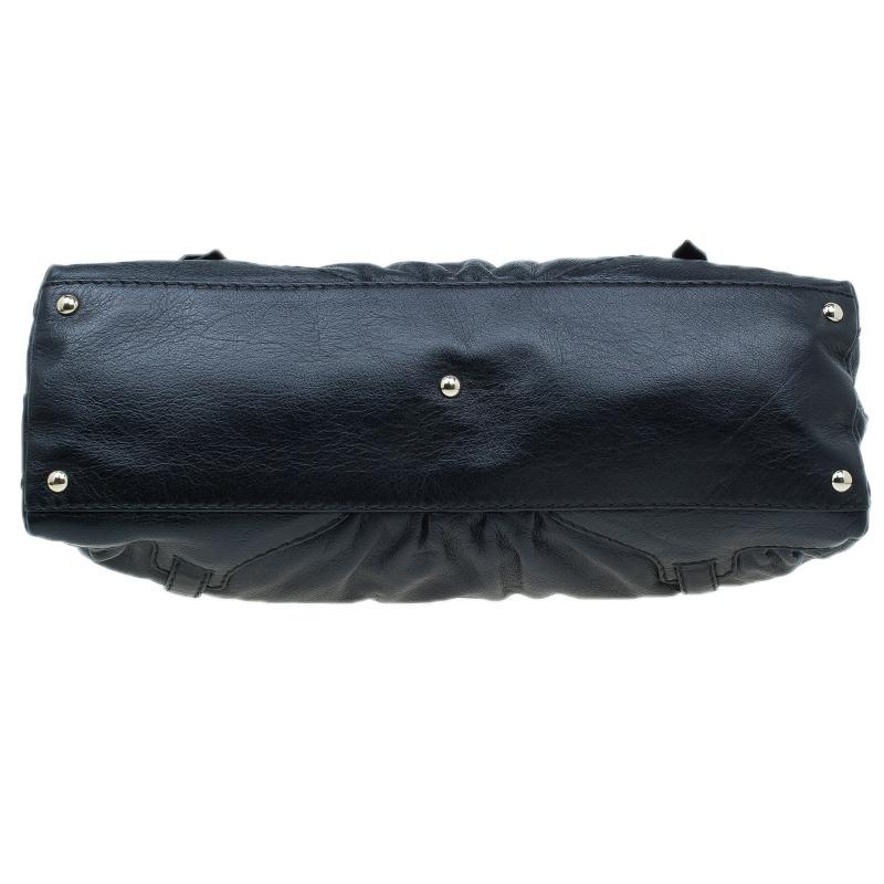 Gucci Black Leather Medium Horsebit Nail Boston Bag