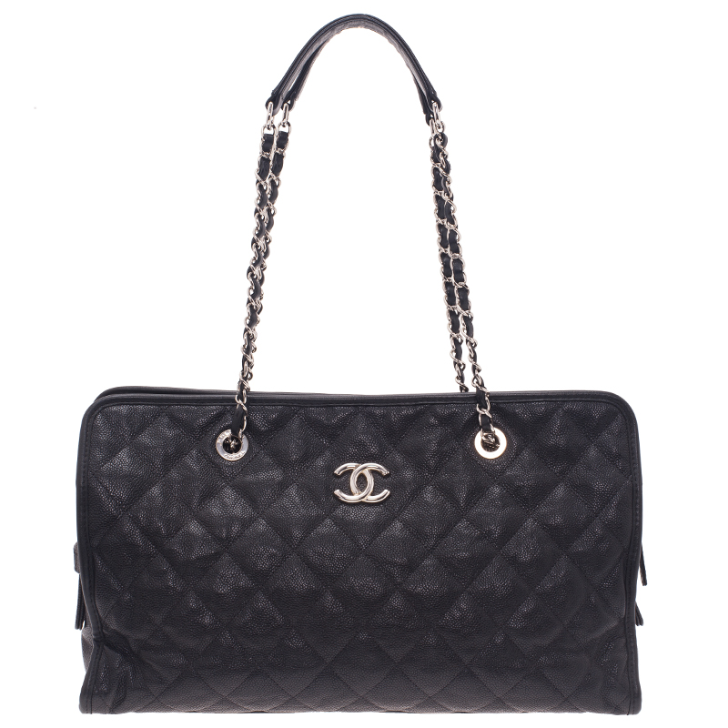 Chanel Black Quilted Caviar Leather Riviera Medium Zipped Shopping Tote
