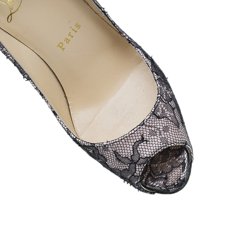 Christian Louboutin Black Lace and Satin Very Prive Peep Toe Pumps Size 36