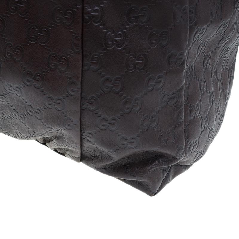 Gucci Brown Monogram Guccissima Leather Hysteria Large Tote