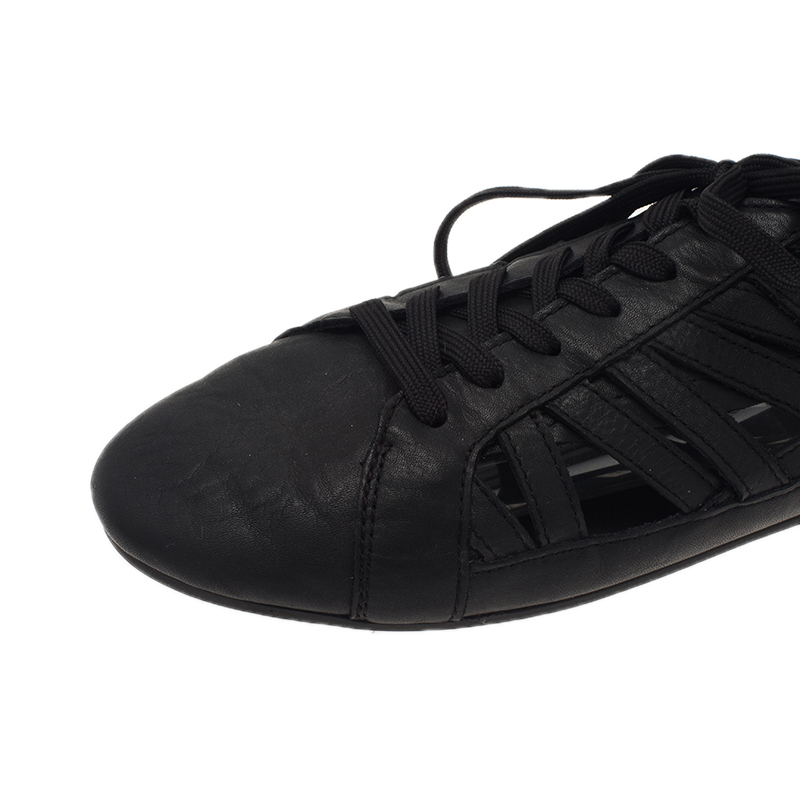 Dolce and Gabbana Black Leather Cutout Sneakers Size 39