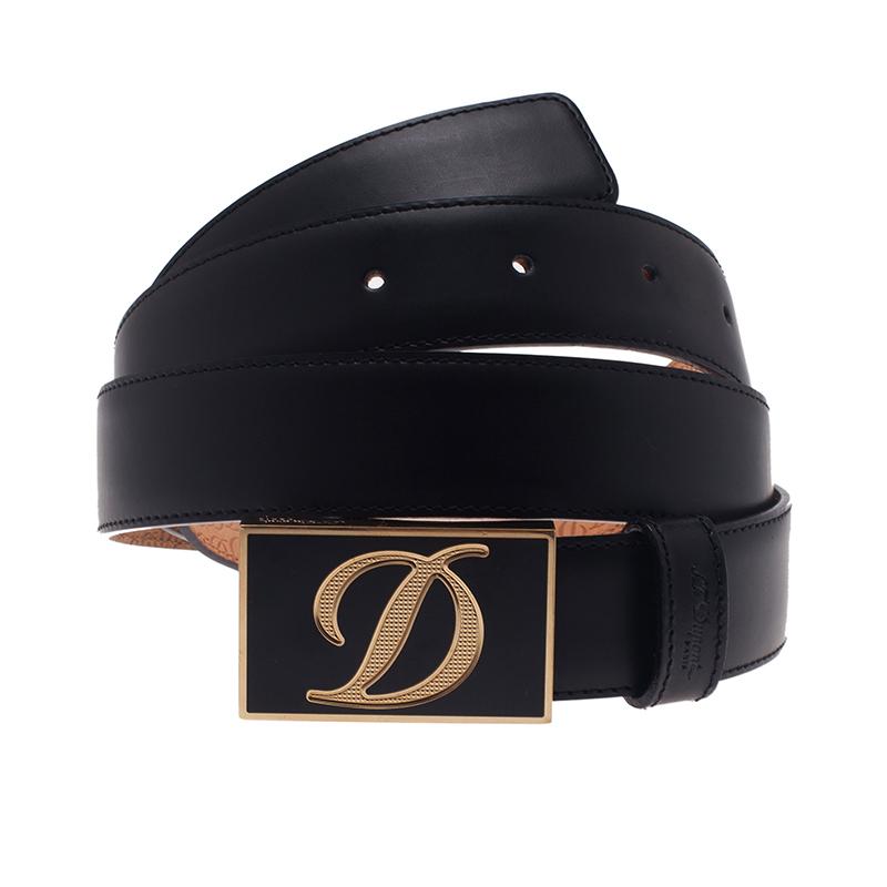 S.T. Dupont Black Leather Buckle Belt 110 CM
