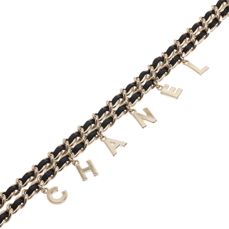 Chanel Charms Gold Tone Black Leather Classic Chain  Necklace Belt