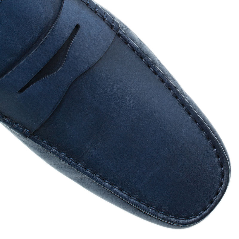 Tod's Navy Blue Leather Penny Loafers Size 45