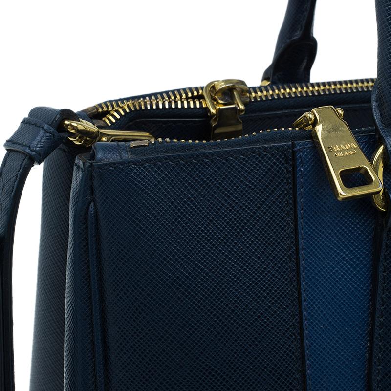 Prada Bi Color Blue Saffiano Large Lux Double Zip Tote