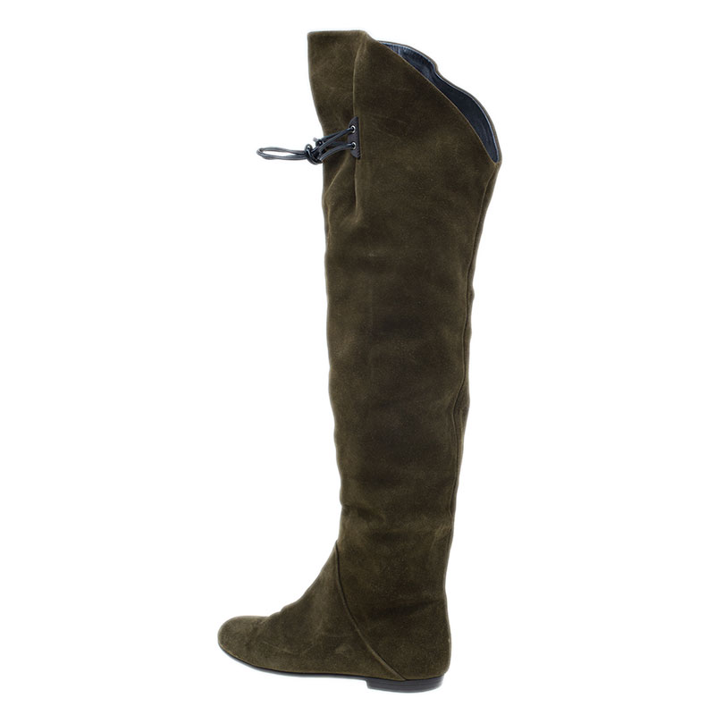 Giuseppe Zanotti Green Suede Over the Knee Boots Size 37