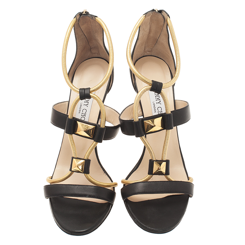 Jimmy Choo Black and Gold Leather Venus Sandals Size 40.5