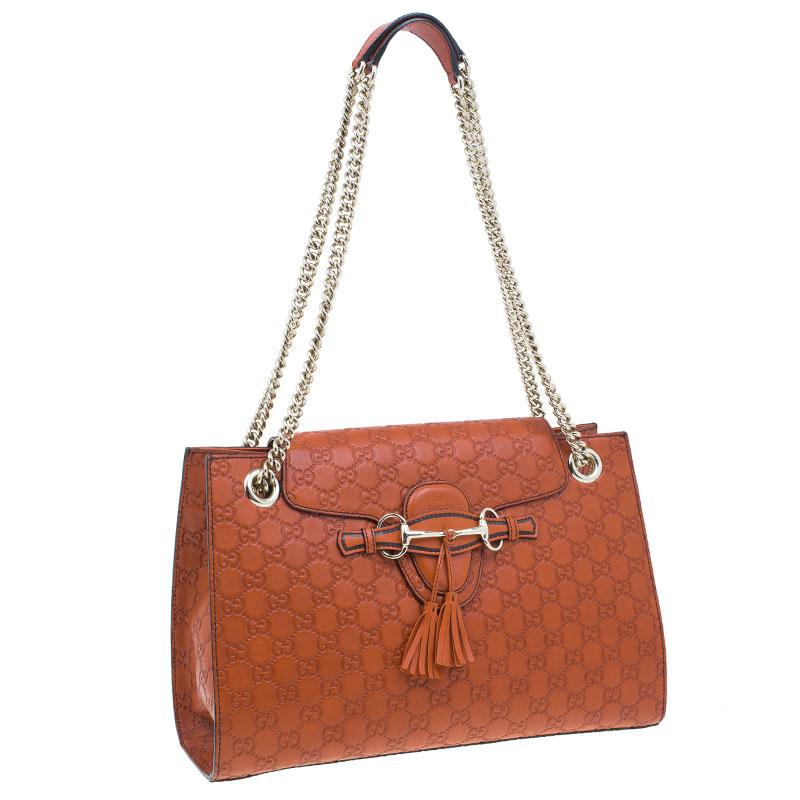 Gucci Orange Leather Monogram Guccissima Emily Chain Shoulder Bag