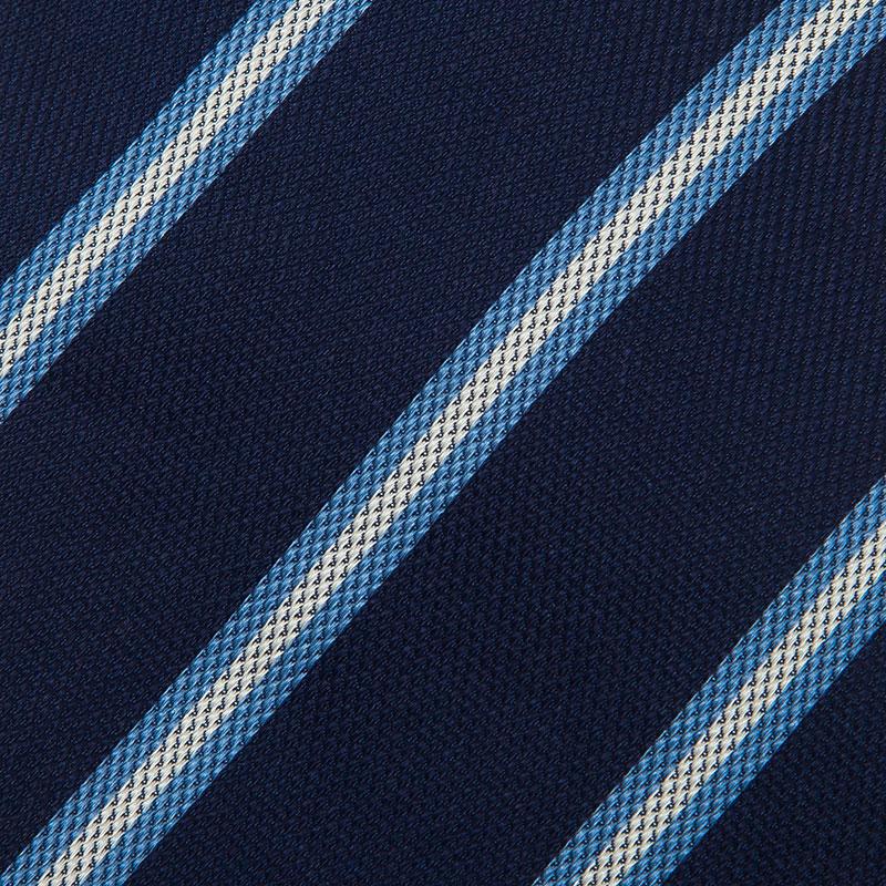 Ermenegildo Zegna Navy Blue Silk Striped Tie