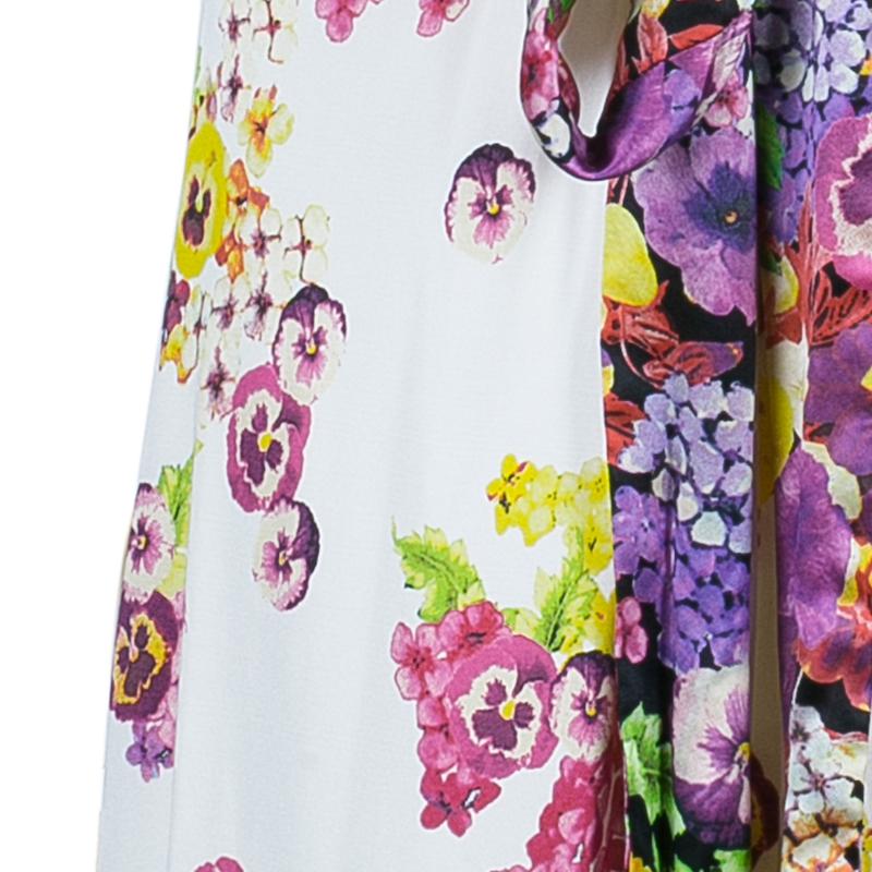 Class by Roberto Cavalli Floral Print Tie-Up Dress S