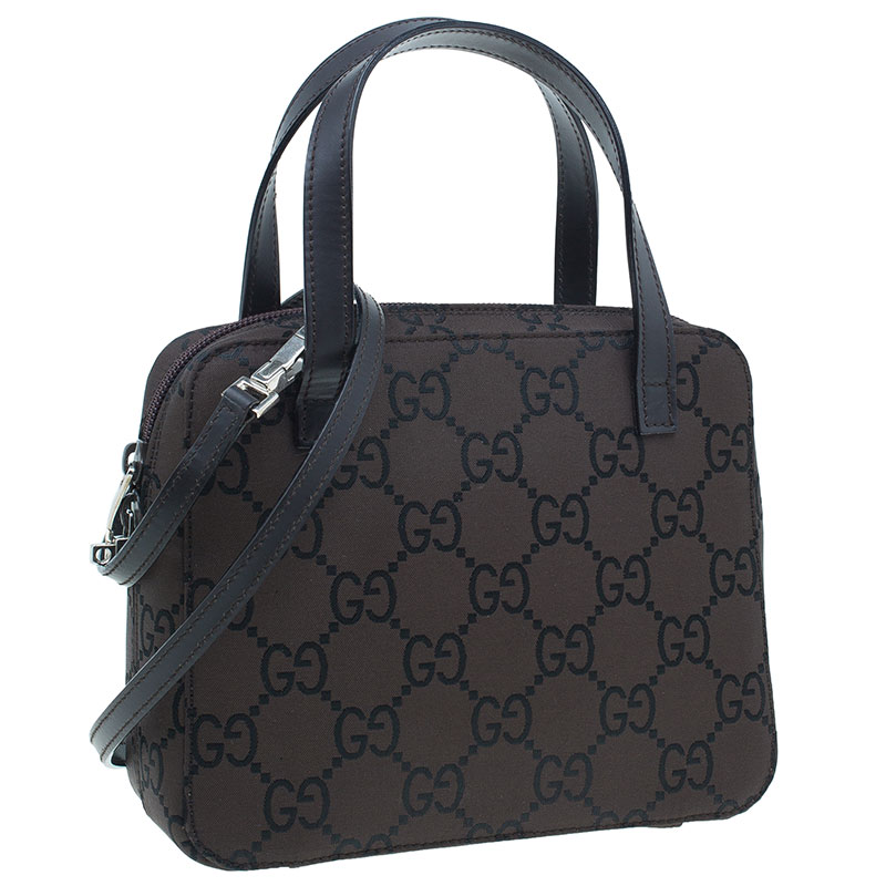 Gucci Brown Canvas 2 ways Small Square Bag