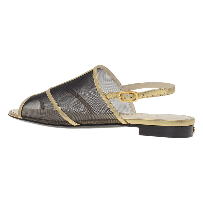 Chanel Black Mesh and Gold Leather Flat Sandals Size 36.5