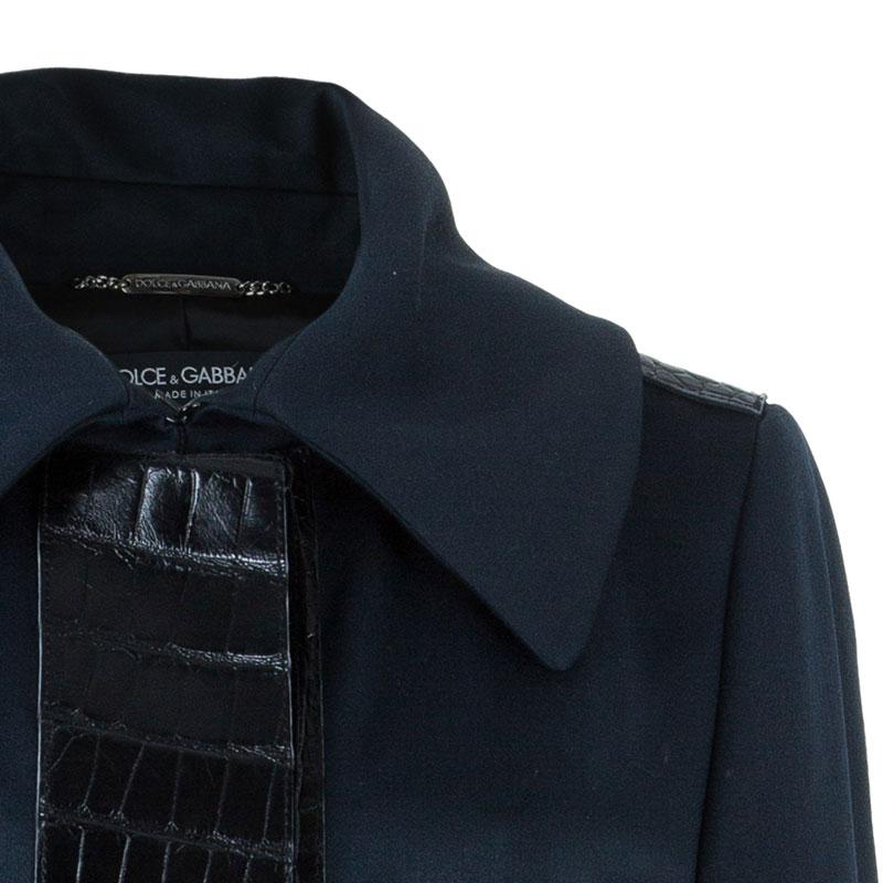 Dolce and Gabbana Alligator Trim Long Coat L