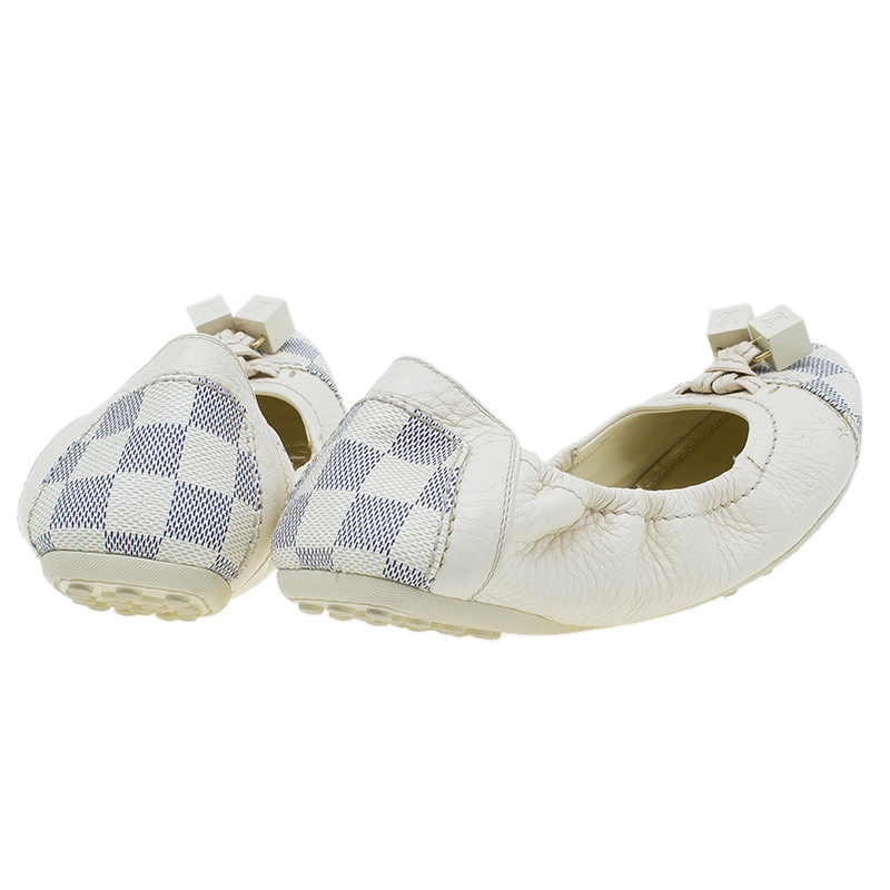 Louis Vuitton Damier Azure Leather and Canvas Lovely Ballet Flats Size 38.5