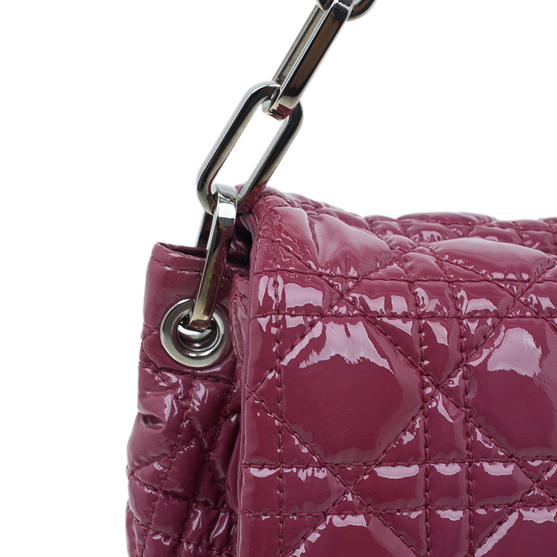 Dior Pink Cannage Quilted Patent Leather New Lock Flap Bag
