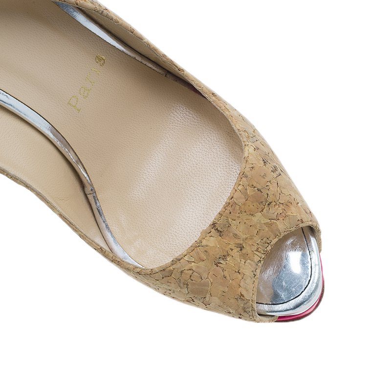 Christian Louboutin Cork Leather Catenita Slingback Platform Sandals Size 36.5