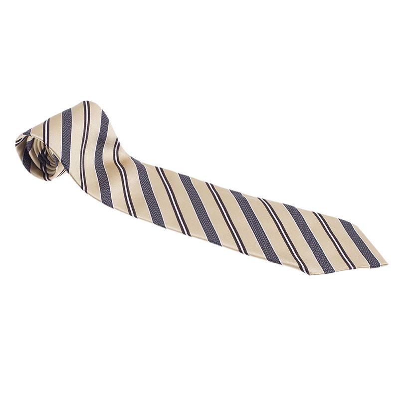 Ermenegildo Zegna Beige and Grey Silk Striped Tie