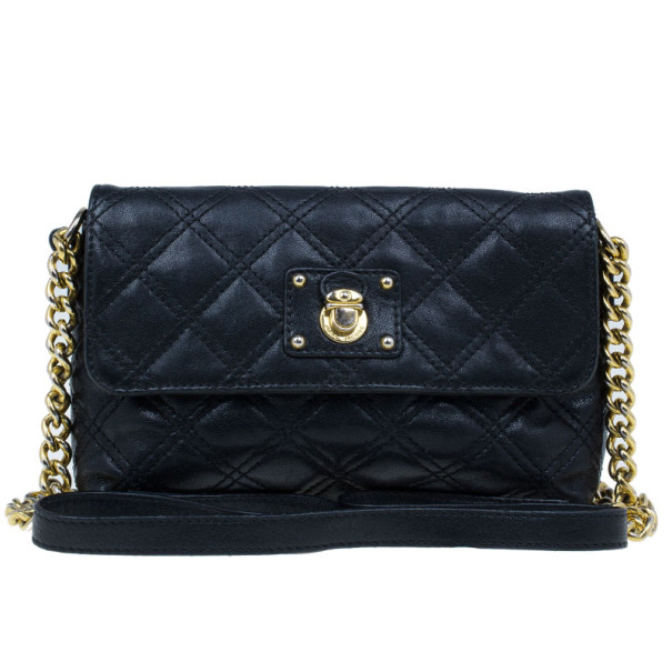 Marc Jacobs Black Quilted Leather Day To Night Single Crossbody Bag