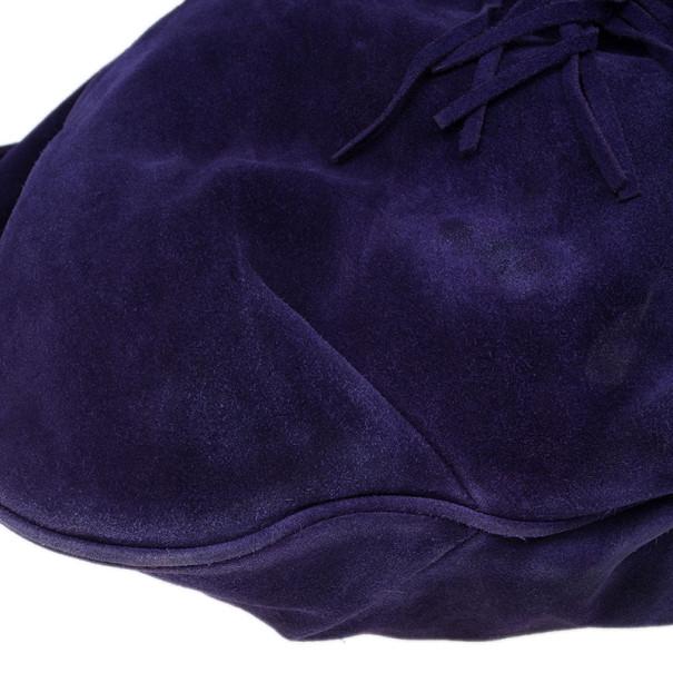 Chloe Purple Suede Box Pleat Hobo