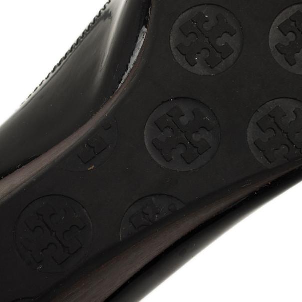 Tory Burch Black Patent Peep Toe Carol Mini Wedges Size 38Size 38