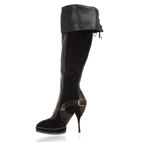 Christian Dior Black Suede & Leather Lace Up Intrigante Over The Knee Boots Size 38