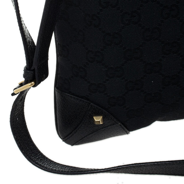 Gucci Black Monogram Studded Shoulder Bag
