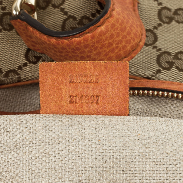 Gucci Beige Orange GG Canvas New Jackie Small Hobo