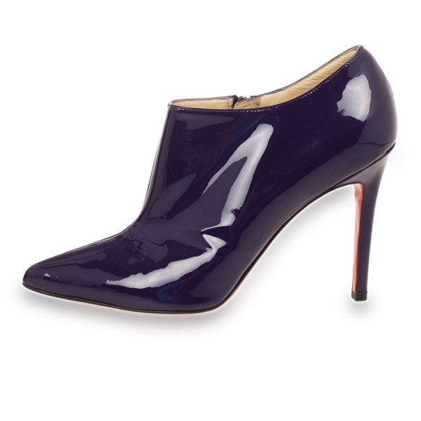 Christian Louboutin Purple Patent 'Dahlia' 100mm Pointed Toe Ankle Boots Size 37.5