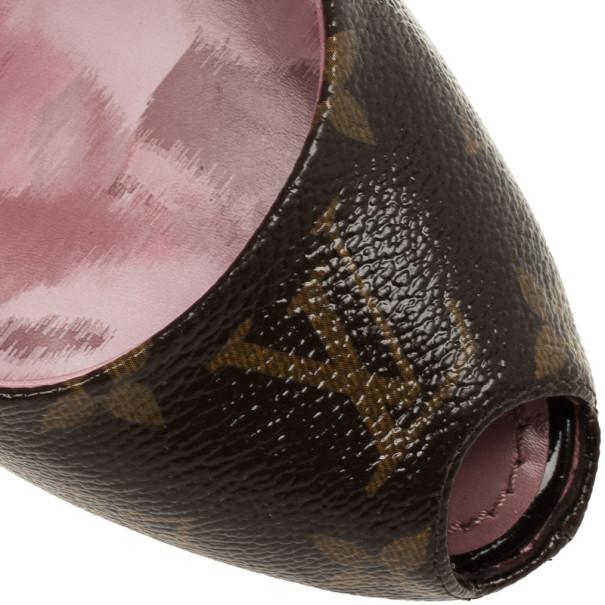 Louis Vuitton Monogram Canvas Rosemary Peep Toe Platform Pumps Size 37.5