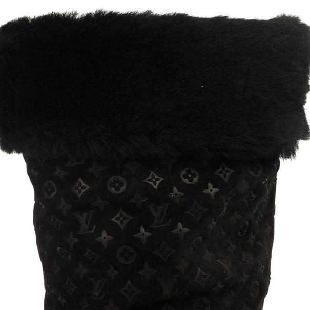 Louis Vuitton Black Suede Monogram Fauvist High Boots Size 39