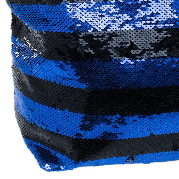 Prada Blue and Black Sequin Tote