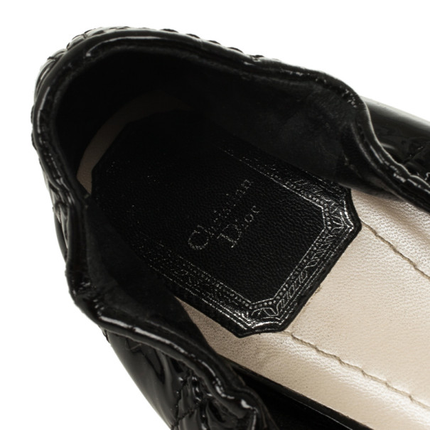Christian Dior Black Patent Cannage Bow Ballet Flats Size 41