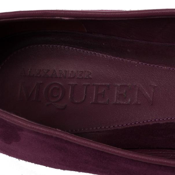 Alexander McQueen Suede Magenta Skull Smoking Slippers Size 40