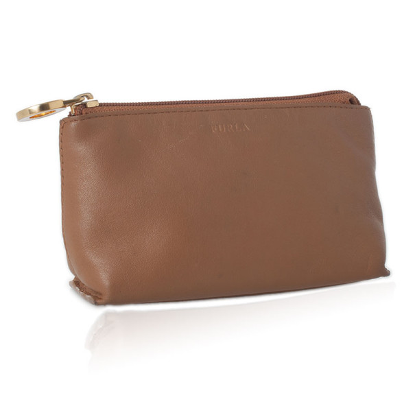 Furla Brown Leather Make Up Pouch