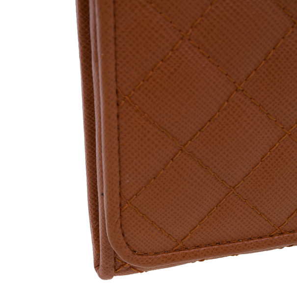 Prada Orange Quilted Saffiano Leather Long Flap Wallet