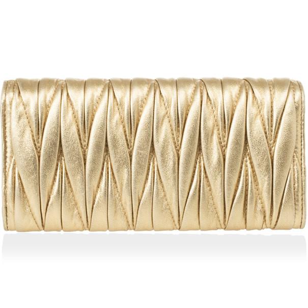 Miu Miu Gold Matelasse Leather Wallet