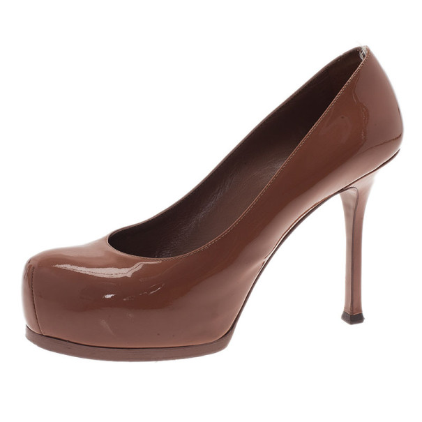 Saint Laurent Paris Brown Patent Tribtoo Platform Pumps Size 37