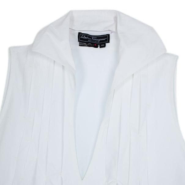 Salvatore Ferragamo White Cotton Dress L