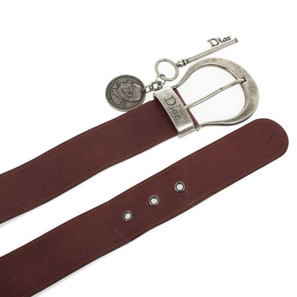 Christian Dior Maroon Leather Medallion Key Motif Belt 80 CM