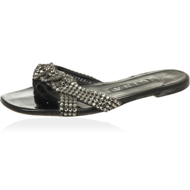 Gina Black Crystal Embellished Flat Slides Size 38