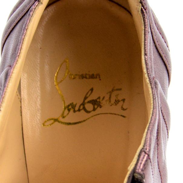 Christian Louboutin Purple Metallic Sigourney Ankle Boots Size 39