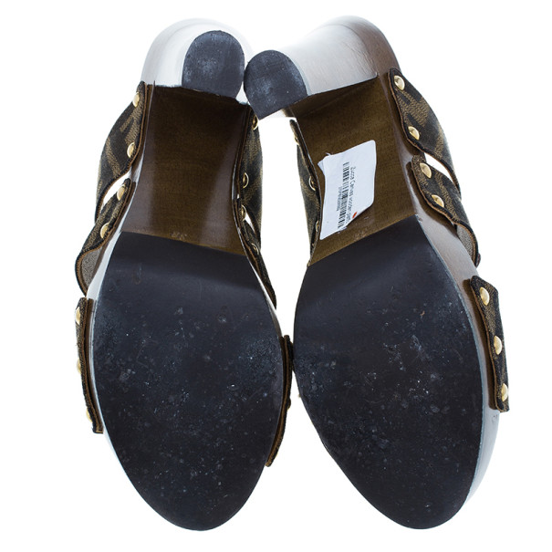 Fendi Zucca Canvas and Leather Wooden Slides Size 38