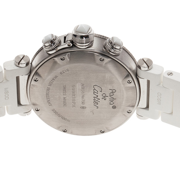 Cartier White Stainless Steel Pasha Seatimer LM Unisex Wristwatch 38MM