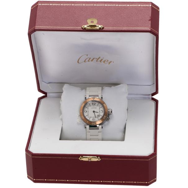 Cartier White Stainless Steel Pasha Seatimer MM Women's Wristwatch 32MM