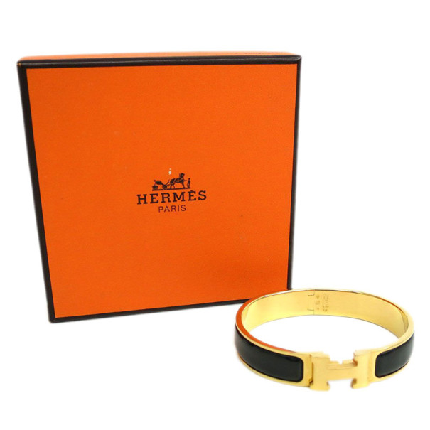 Hermes Clic Clac H Black Enameled Gold-Plated Bracelet PM
