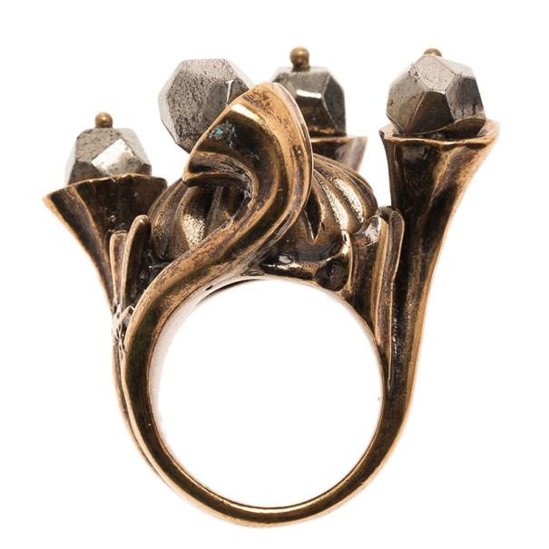 Saint Laurent Paris Shadow Crown Gold Ring Size 50