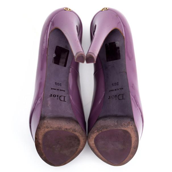 Christian Dior Purple Patent 'Miss Dior' Peep Toe Platform Pumps Size 39.5